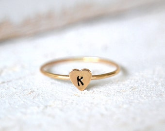 Gold Heart Ring, Couples Ring, Small Heart Ring,Personalized Ring, Initial Ring, Promise Ring, Dainty Heart Ring, Stacking Heart Ring