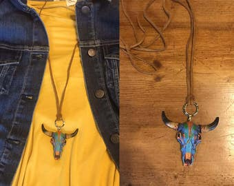 Bull Skull Suede Necklace