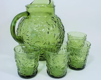 Anchor Hocking Avocado / Olive Green Milano Lido Pitcher & Glass Set, 1960s Vintage