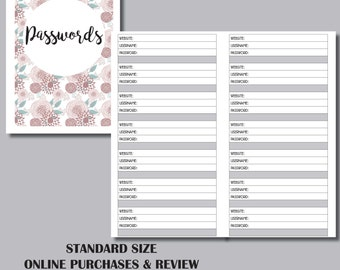 STANDARD SIZED PASSWORD Travelers Notebook Insert