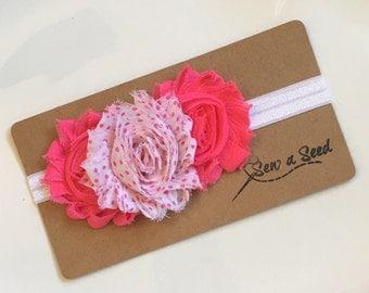 Baby Headband, Flower Headband, Pink Headband, Polka Dot Headband, Infant Headband