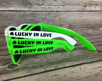 Lucky in Love ADULT Personalized Sunglasses, Bachelorette Party Favor, St. Patrick's Day Favor, Bridal Sunglasses, Green Four Leaf Clover