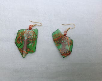 Seaglass earrings Handpainted with Autumn trees