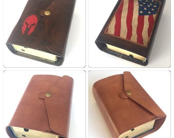 Leather Scripture Cover, Custom Bible Cover, LDS Missionary Gift, Christian Gift, Personalized Leather Cover, Handmade Bible Cover, USA Gift