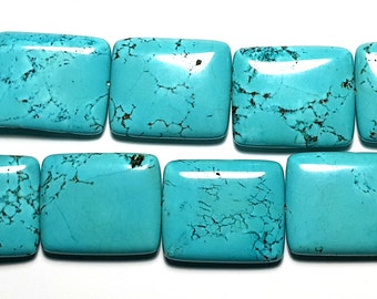 Magnesite Turquoise Rectangle Beads 25mmx 30mm Set of 6 Beads
