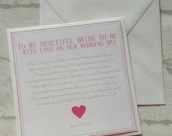 Bride Wedding Day Card - Personalised Keepsake Card - On Our Wedding Day Card - To My New Wife Card - Groom To Bride Card
