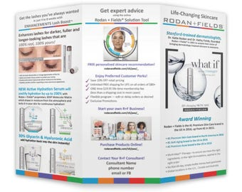Rodan and Fields Personalized 8.5x11 Tri-fold Design, Digital & Printed Options Available. Best Seller! Include your contact to personalize.