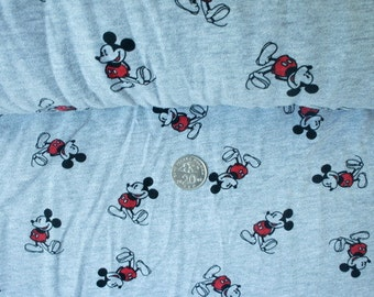 Jersey Knit Fabric: Mickey on grey
