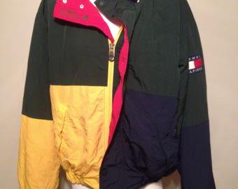 Vintage 90's Tommy Hilfiger Grail Color Blocked Hooded Jacket Siz Large Amazingly Rare Find
