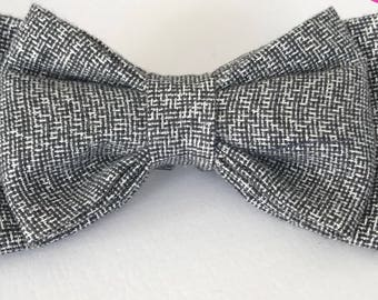 Silver slip on dog bow tie