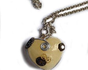 steampunk key Schlüssel pendant necklace citrin heart