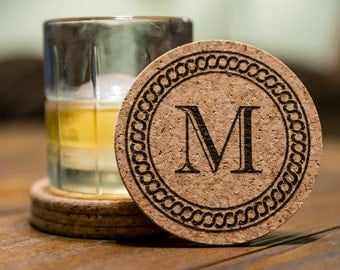 Monogram Cork Coaster Set