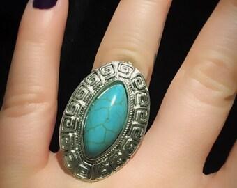 Big Ring / Bold Ring / Statement Ring / Turquoise Ring / Silver Ring / Boho Ring / Bohemian Ring / Vintage Ring