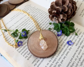 Champagne Quartz Crystal Wire Wrapped Pendant Necklace W/ Gold Plated Chain, Perfect Gift For Her/Mum/Sister/Bestfriend/Girlfriend