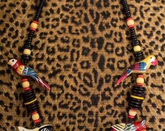 Vintage Wooden Bird Necklace - Tropical Birds