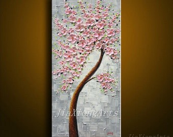 Original Oil Painting on Canvas Palette Knife Landscape Tree pink Flowers Paintings Modern Home Decor Wall Art handmade Abstract Painting