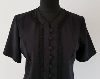 Black Berketex tailored short sleeved blouse | Pretty embroidery detail | UK Size 14