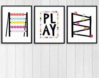 Colorful Nursery Wall Art Set, Playroom Decor, Instant Download Wall Art Prints, Play Room Print Set, Bright Modern Nursery Decor,
