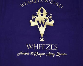 Weasley's wizard wheezes, womens purple and gold shirt, Harry potter inspired, diagon alley, weasley twins