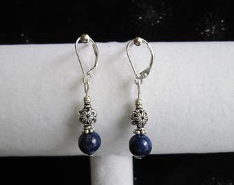 Bali Style Sterling Silver and Lapis Lazuli Gemstone Earrings
