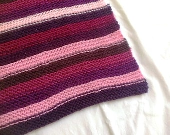 Hand Knit Baby Blanket - Pink Purple Stripes