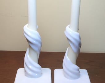 Pair Of Unique Vintage  White Milk Glass Swirl Candle Holders