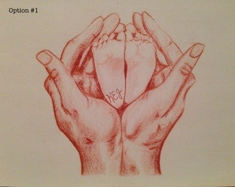 Personalized Drawings of Hands Embracing. Charcoal or Sepia. Drawings of Hands. Hands Embracing. Parent and child. Baby Shower.