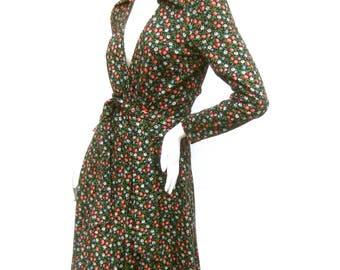 DIANE VON FURSTENBERG Iconic Floral Print Italian Wrap Dress c 1970s
