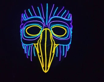 FOREST OWL Falcon Light Up EL Wire Mask!!  Limited Amount Produced!! Over 20Ft of Wire!! Great For Electric Forest, Raves, Mardi Gras!!