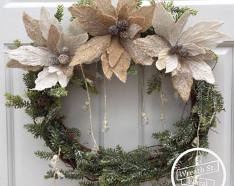 Winter Wreath, Burlap Wreath, Wreath Street Floral,Grapevine Wreath, Front Door Wreath, Burlap Wreath, Poinsettia Wreath