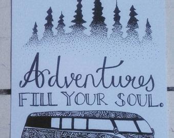 Postcard - A6 Art Print - Henna Mehndi Art - VW Camper - Adventures - Quote - Zentangle - Mandala