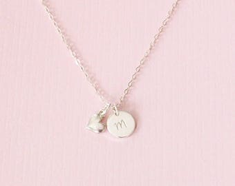 Mothers Day Sterling Silver Initial Heart Necklace