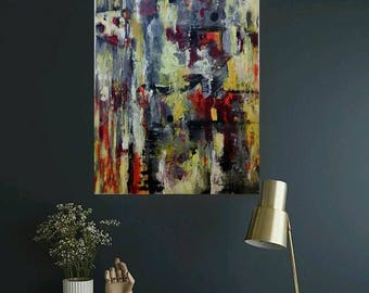 Original abstract painting, acrylic canvas, modern, wall decor, artwork