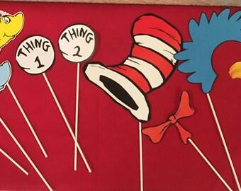 Dr Seuss Photo Props, Dr Seuss decorations, Dr    Seuss Party, Thing 1&2 decorations