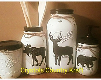 Deer, Moose, Bear Kitchen Canister Set, Mason Jar Set , Brown And White