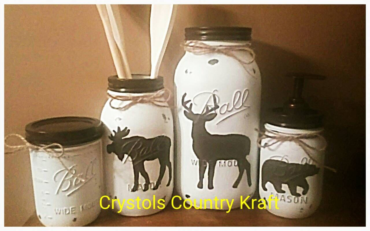 deer moose bear kitchen canister set mason jar set brown