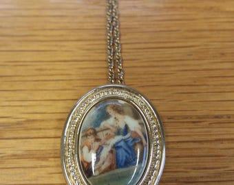 Vintage Renaissance Painting Pendant Necklace Kitsch Chic Boho - Italian Inspired