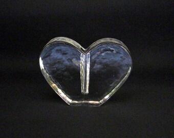 Vintage glass solifleur vase in the shape of a heart-Scandinavian glass vase