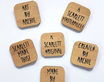 Kid's Artwork Display Magnets-set of 6-children's artwork-art-personalised magnet-fridge magnet-custom-kinder-school-laser cut-painting
