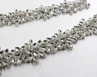 applique trim, Bridal Applique, DIY Weddings, trim, Rhinestone trim rhinestone applique crystal sash bridal sash headband wedding headpiece