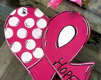 Cancer Ribbon Heart Door Hanger