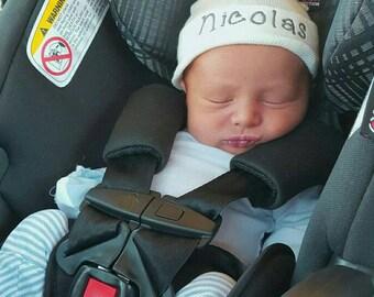 Newborn Boy Personalized Hospital Hat- boy hospital hat, baby boy hat, white hospital hat,  baby boy beanie, boy newborn hat, newborn boy