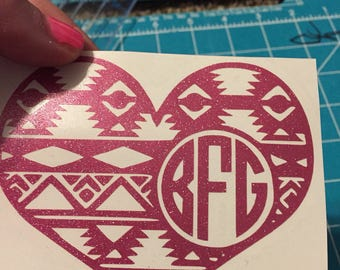 Aztec Heart Monogram Decal