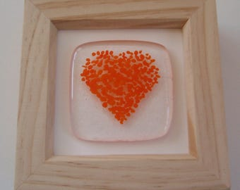 Orange Fused Glass Framed Heart