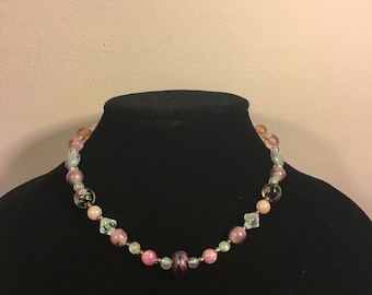 Hand Made Pink Beaded Necklace