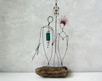 Bride and groom gift, Rustic wedding gift, Wire sculpture, reclaimed furniture, Driftwood sculpture, anniversary wedding gift, Gift her