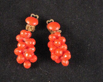 Vintage Red Clip Dangle Drop Grape Cluster Earrings 1950s