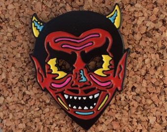 Neon Devil mask, vintage Halloween costume enamel pin