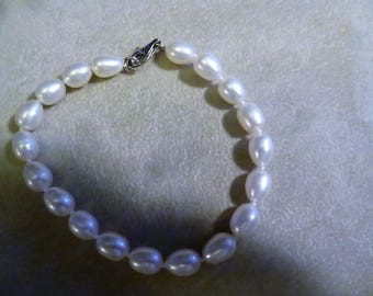 Vintage Freshwater Pearl Bracelet with Sterling Clasp signed CP