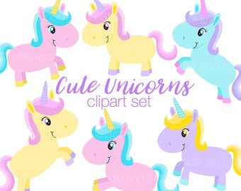 Unicorn Clipart Set, Cute Unicorns Clip Art Illustrations, Pastel Clipart Pictures, Unicorn png images